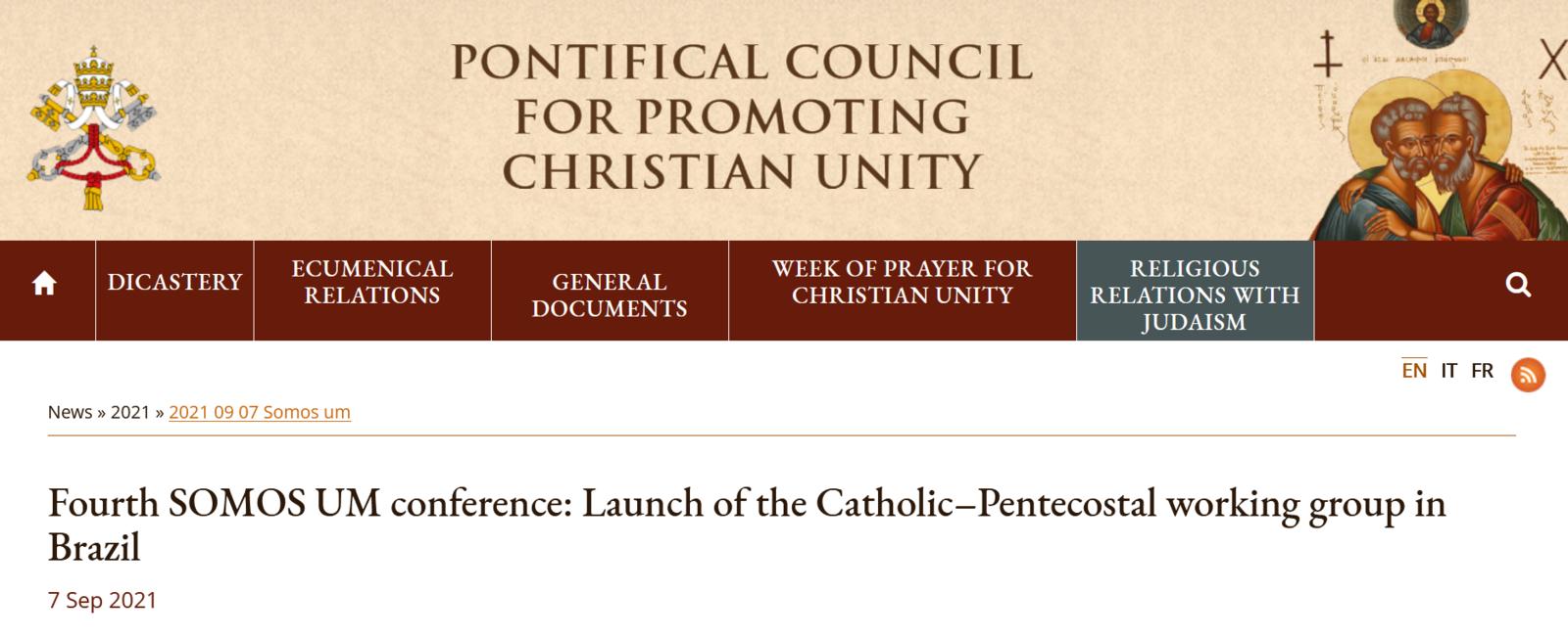 Toujours vers la religion unique : Catholiques et évangéliques se sont réunis à la IVe Conférence internationale « We Are One »