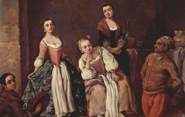Pietro Longhi. Die Furlana. Um 1750, Öl auf Leinwand, 62 × 51cm.Venedig, Ca' Rezzonico.Genremalerei.Italien.Rokoko. KO 00525