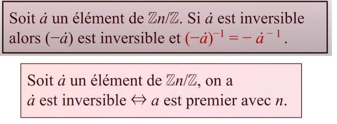 POST BAC - Anneau ℤ/nℤ - Propriétés des  Classes d'équivalence - Critères d'inversibilité