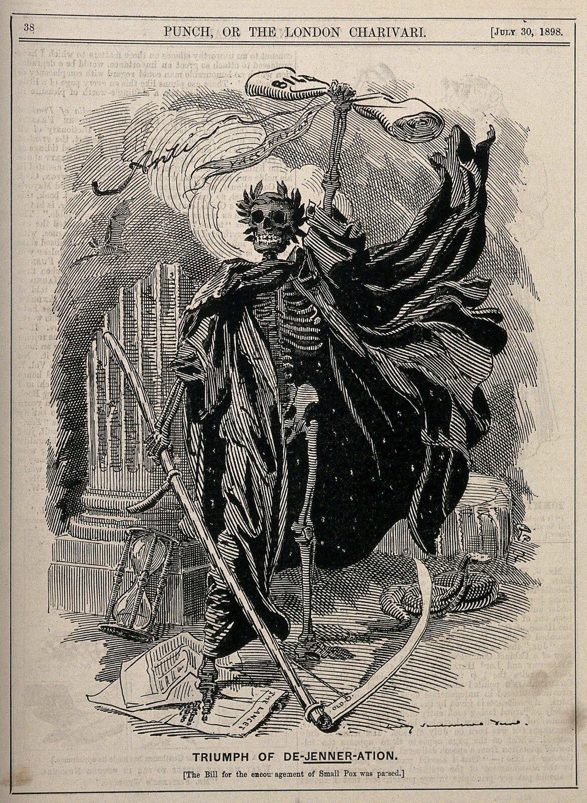 Allégorie de la mort brandissant une faux et représentant les craintes concernant la loi de 1898 rendant obligatoire la vaccination contre la variole. Gravure sur bois de Sir E.L. Sambourne, 1898.