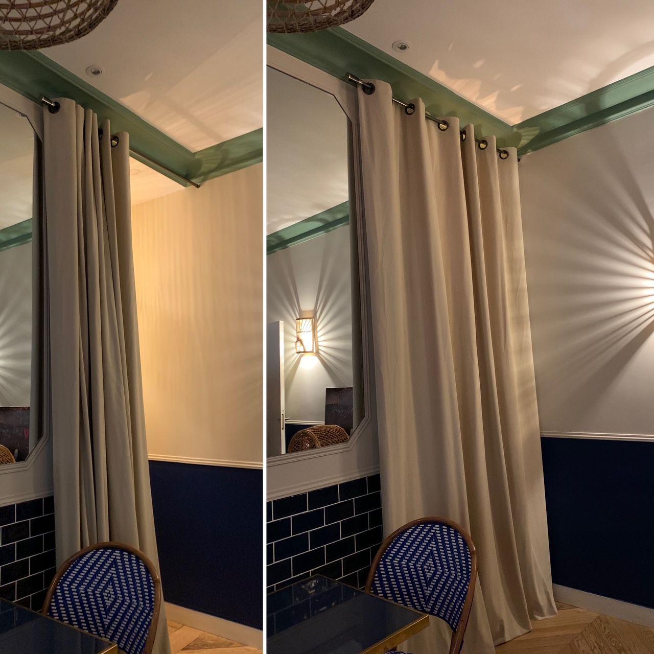 Un rideaux pour fermer la salle du fond