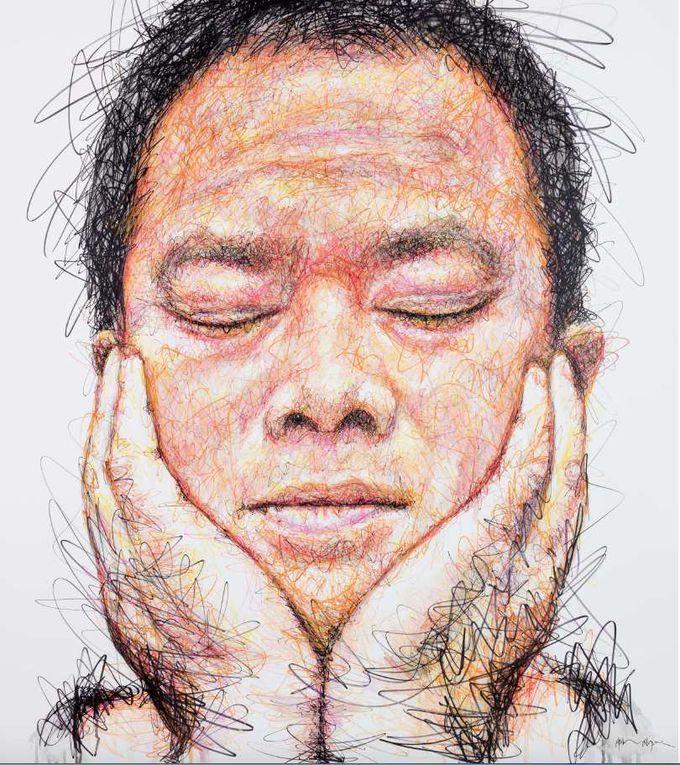 Hidden Autoportrait (Techniques mixtes sur toile , 180x140cm)