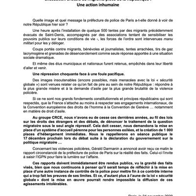 Evacuation brutale de migrants place de la République : une action inhumaine