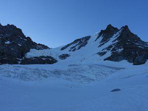 Grad Paradis, sur le bas du glacier (voie  du refuge Chabod)