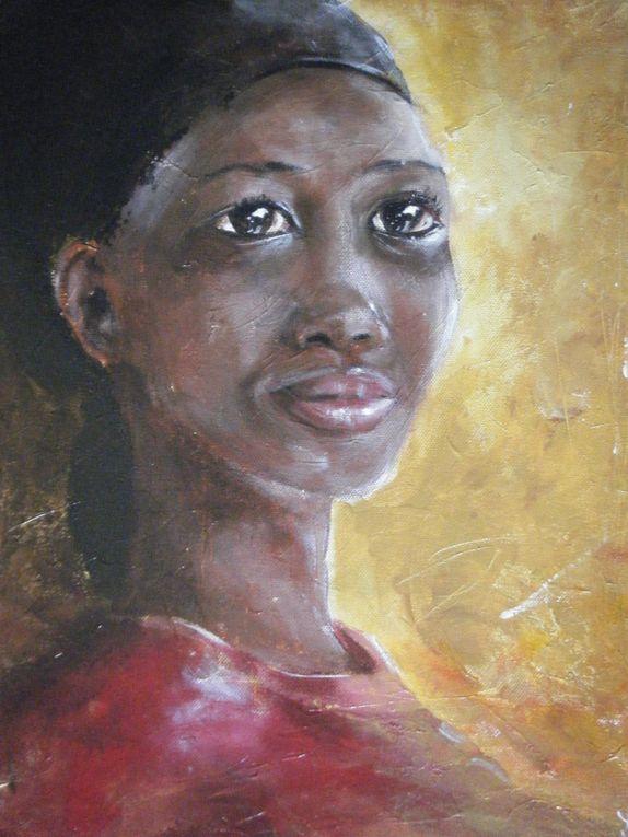 AISHA SYLLA: Acryliques sur toile.  METTRE EN VALEUR LA DIGNITE DE LA FEMME AFRICAINE. Vente des toiles au profit des projets de solidarité en Afrique de la Fondation Sylla Caap.