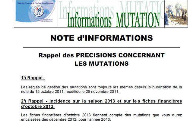 """RAPPEL des précisions concernant les """"MUTATIONS"""""""