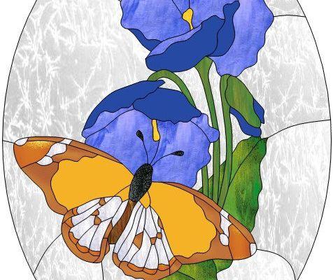 Modèle pour vitrail - Papillon sur fleurs