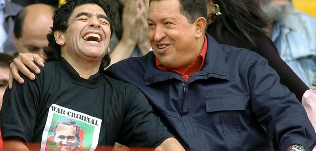 Maradona avec Chavez et Castro