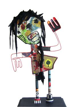 Tissus, papier plume, fil électrique, bois, acrylique...