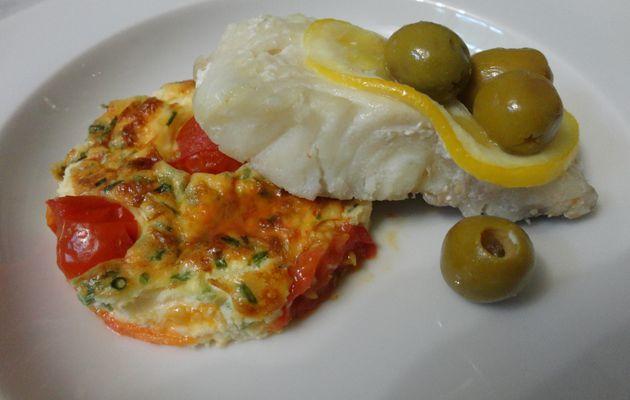 Filet de julienne au citron et clafoutis de tomates