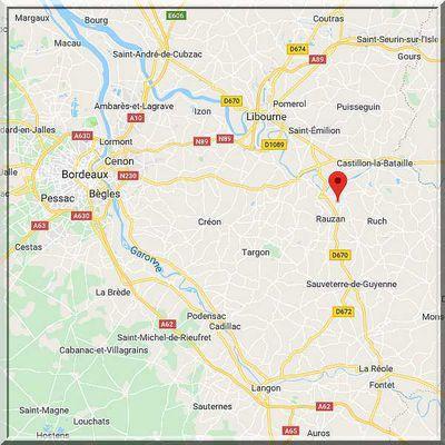 Gironde - Saint Vincent de Pertignas - Position église sur carte