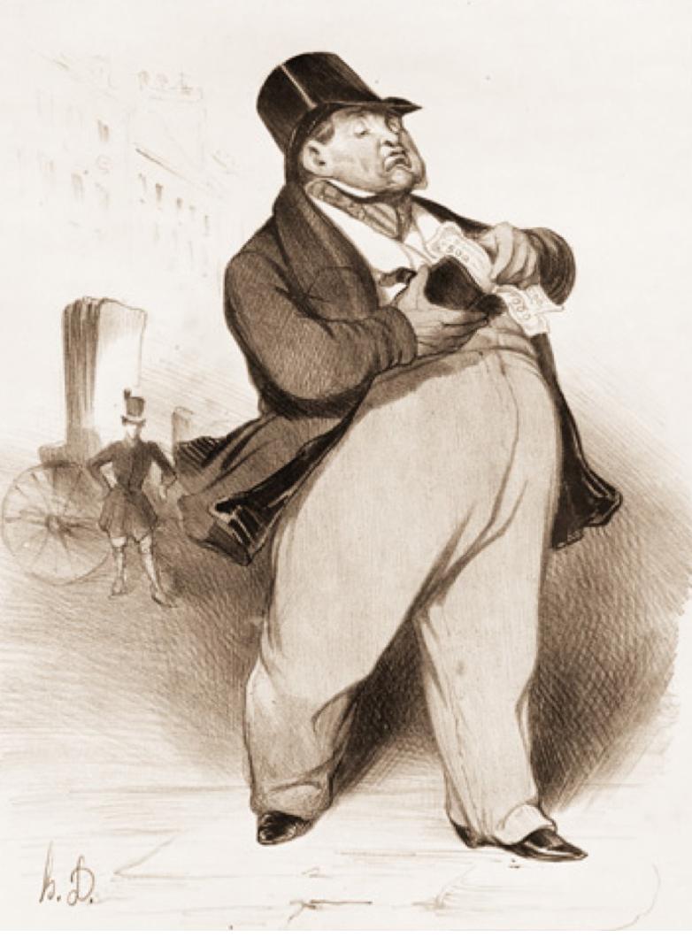 Honoré Daumier, Le Banquier. « Appelé capacité financière parce qu'il n'est autre chose qu'un récipient, un coffre exclusivement propre aux finances. »