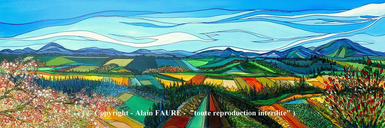 AUTOMNE EN PROVENCE            Peinture Acrylique sur Toile : 120 x 40 cm..........1320 € -  Lorsque l'on a la chance de se promener ou de randonner dans les Alpilles, le Luberon, les Dentelles de Montmirail  ou le Ventoux, en arrière saison après les grosses chaleurs de l'été, les massifs offrent  des teintes nuancées  rendues magiques par la douce  lumière de l'automne. Prendre de la hauteur et savourer l'instant privilégié d'une vue panoramique sur les vignes, les oliveraies et tant d'autres vergers multicolores.