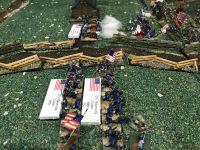 Les batteries de Pelgram sont innéficaces et les troupes confédérés par contre subissent les tirs de Hall. La brigade de Meredith se prépare à charger