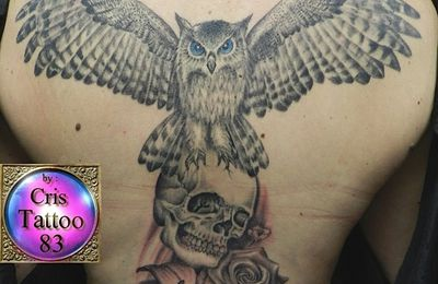 owl-skull-flowers-tattoo