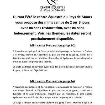 Minis-camps au centre équestre du pays de Maurs