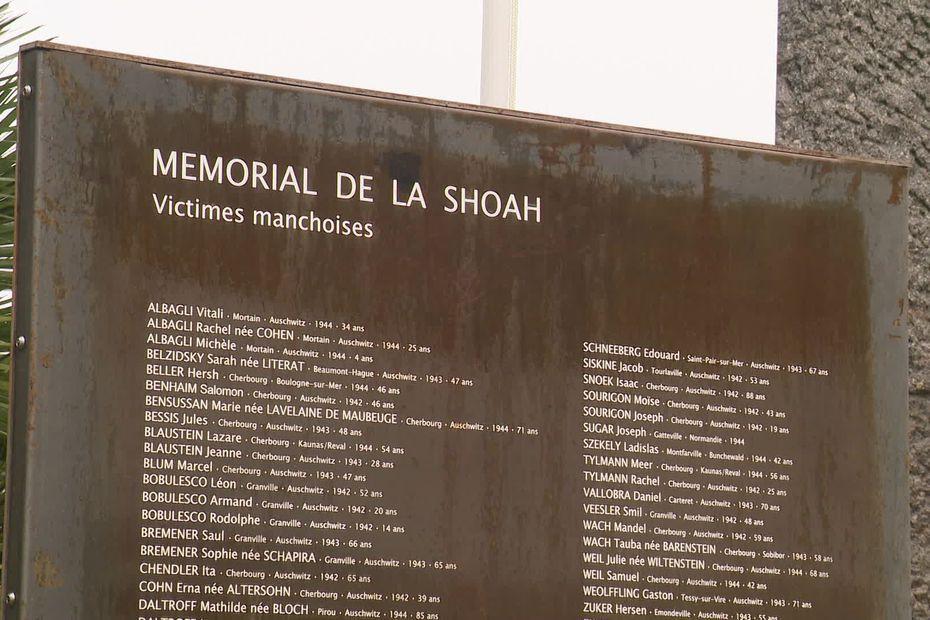 Les noms des victimes manchois de la Shoah figurent sur le mémorial départemental de Cherbourg-en-Cotentin. • © France 3 Normandie