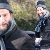 Keanu Reeves wraps up warm as he arrives for work on John Wick 4