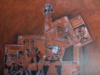 Nature morte BD Les comics- Le mammouth. Détails du tableau en cours de réalisation. Huile sur toile 130x130 En cours Bhavsar