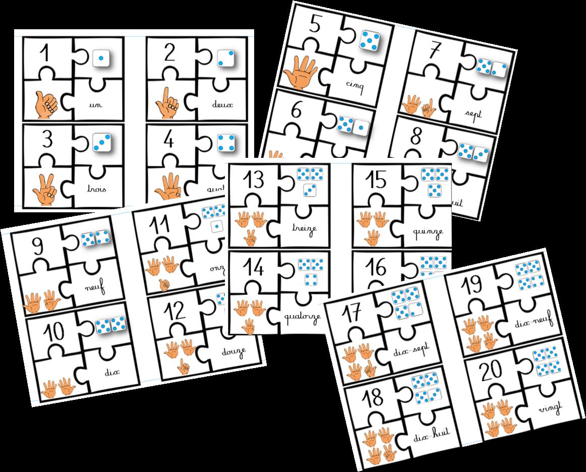 Maths : Puzzle des nombres de 1 à 20