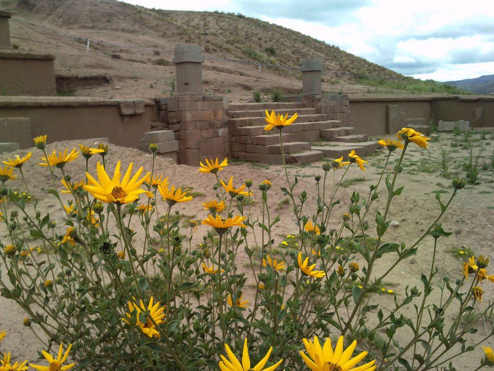 site archéologique de Tihuanaku au bord du lac Titicaca Bolivie