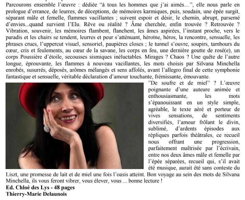 """""""De soufre et de miel"""", le dernier ouvrage de Silvana Minchela dans Bruxelles Culture de janvier 2020"""