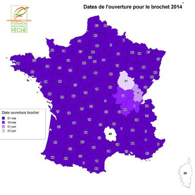 Dates d'ouvertures du carnassier en France en 2014