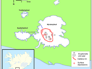 Left, the Myrdalsjökull, seen by the satellite Landsat-8 OLI - right, the location of the caldera of Katla and depressions therein are formed with dates. -  A click to enlarge.