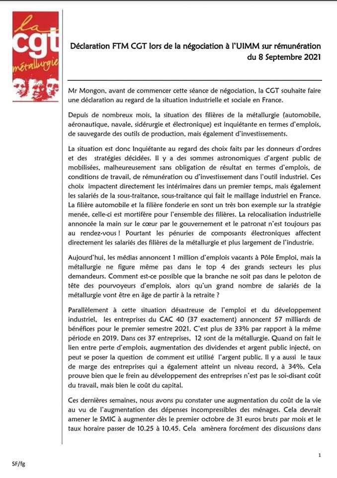 """Négociation à l'IUMM : """"Vers la casse de la prime d'ancienneté !"""""""