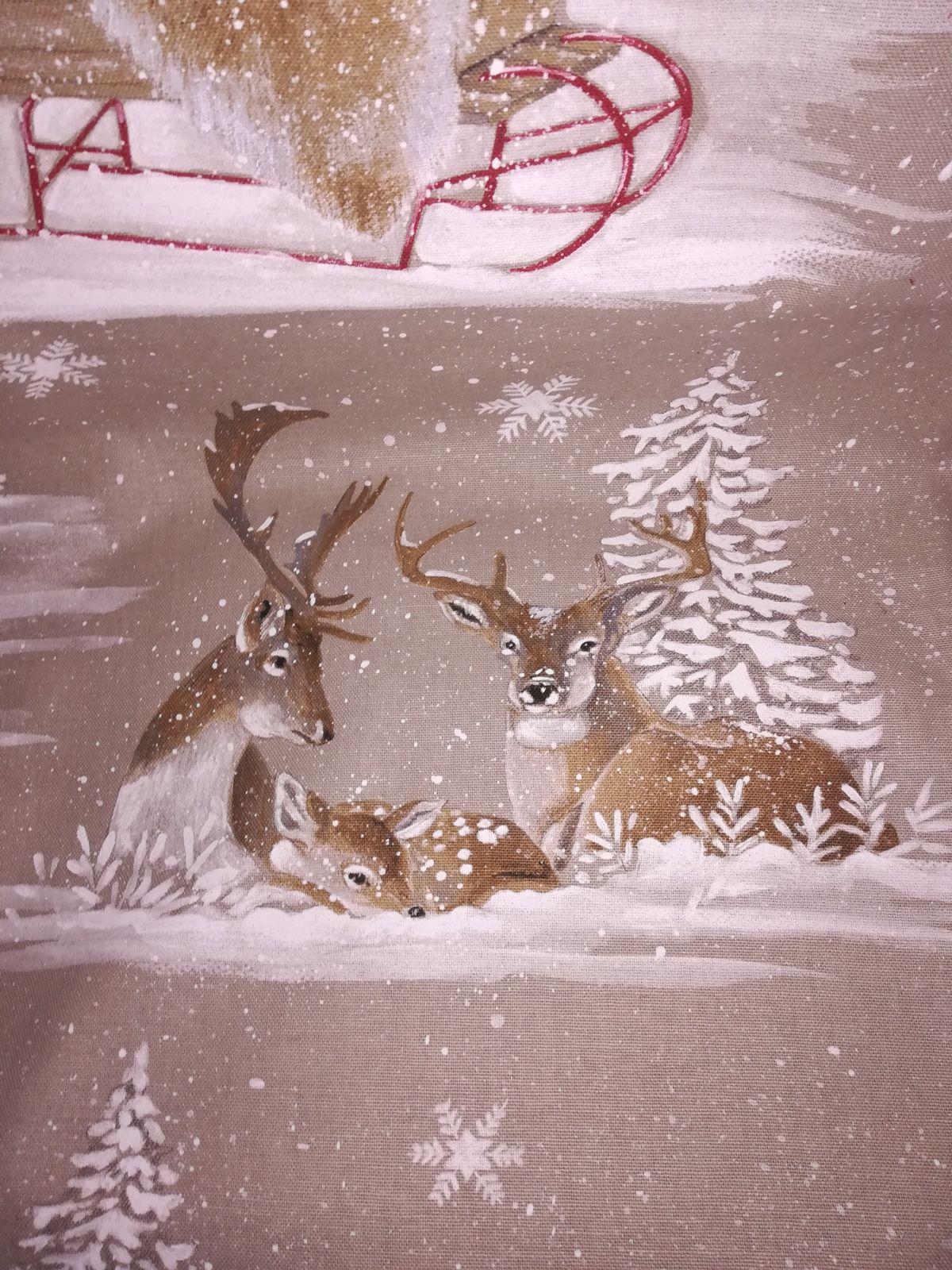 Un plaid rouge et paysage d'hiver  pour la période les fêtes de fin d'année...