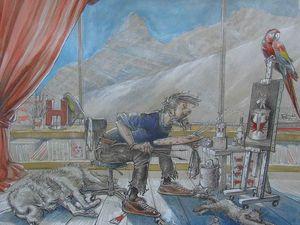 Autoportrait en cap'tain Nature Morte Détails  33x38 technique mixte sur papier teinté + Etudes d'après Hergé  21x30 Encre et crayon sur papier Bhavsar