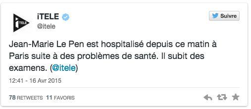 Le point de détail du jour : Le Pen hospitalisé
