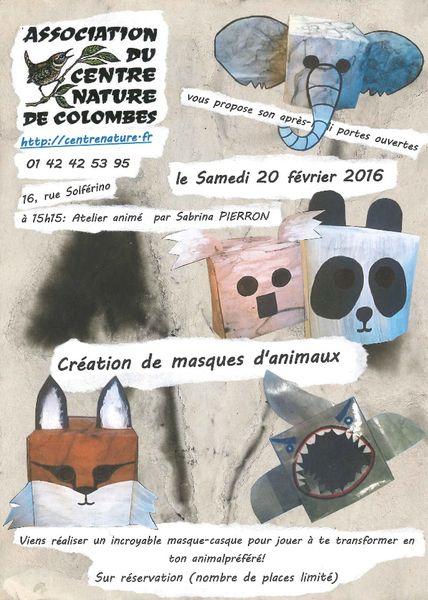 Atelier (ré)créatif n° 1 : création de masques d'animaux