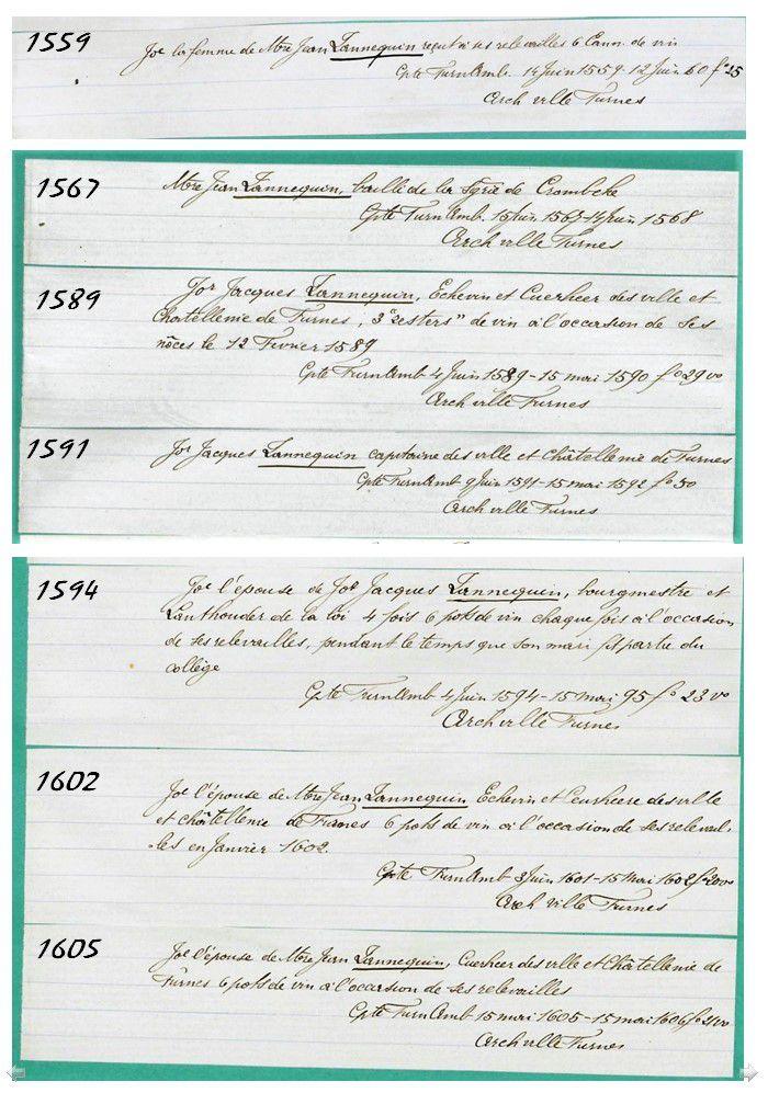 Recueil d'Analyses, au point de vue généalogique et historique des 393 comptes du terroir de Furnes et plus tard des villes et Châtellenie unies, d'après les orignaux, les uns aux archives générales du Royaume de Belgique, à Bruxelles les autres à celles de la ville de Furnes.