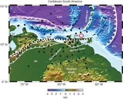 Colour topography and bathymetry of the southeastern Caribbean showing plate boundaries and significant tectonic features. The Antilles subduction zone has traversed northern South America from west to east, creating the coastal mountain belts. The Antilles subduction zone and the limits of orogenic belts are shown in heavy and light white lines with teeth…