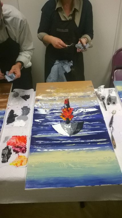Huile sur toile - Technique au couteau - Taille : 100 X 50 CM - Toile réalisée au cours d'une journée d'atelier de peinture, aux côtés d'Alain Bordier Artiste-Peintre