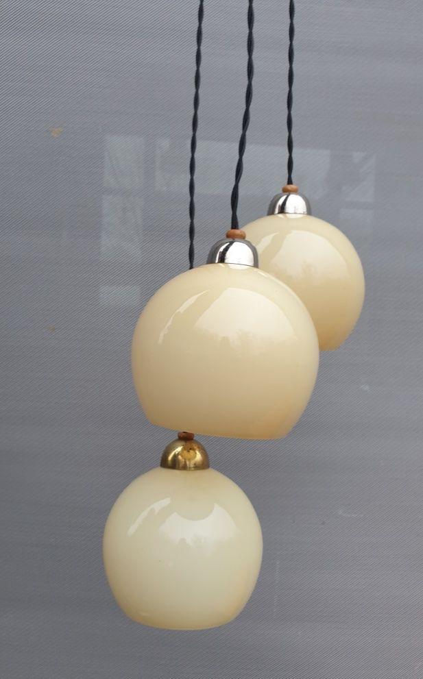 Suspension Art Déco cascade de 3 globes Vanilla Sky - 250 euros