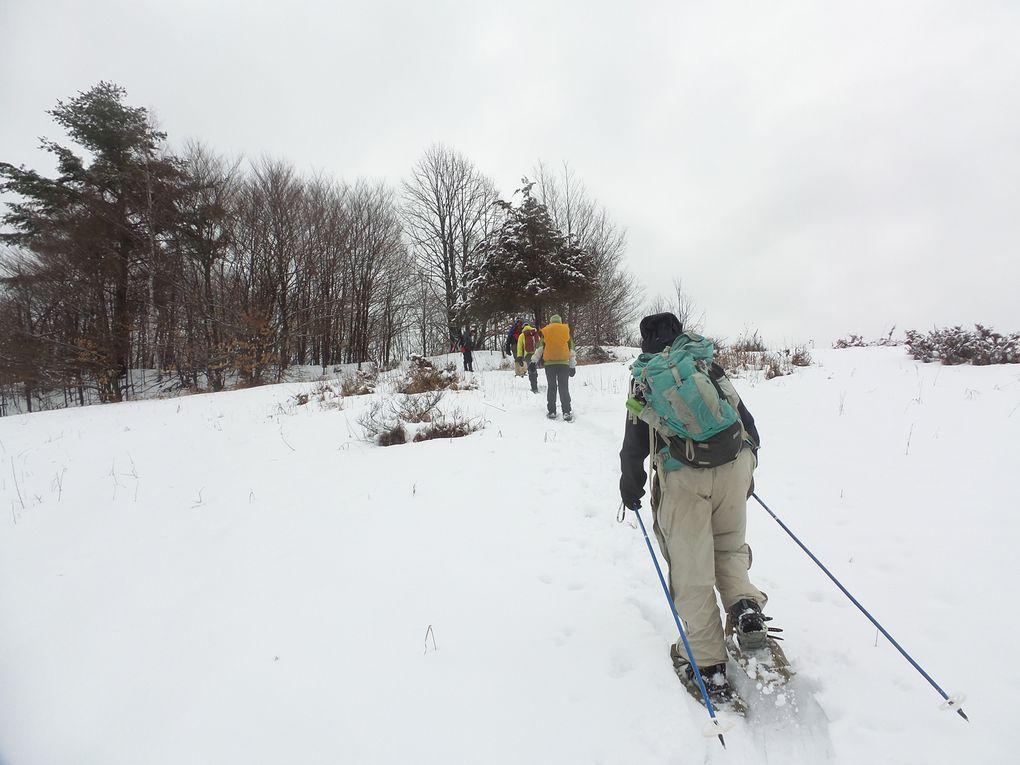 La féérie du paysage nous fait un peu oublier la neige loude et collante sous nos raquettes