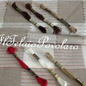 lino 11 fili baita - con quadri e righine rosse - Il Telaio Povolaro
