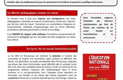 Grève du 26 janvier 2021 : le tract de la CGT Educ'action 59/62