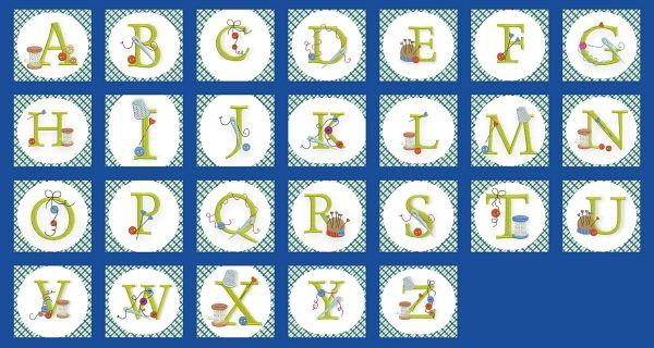 Alphabet broderie thème couture