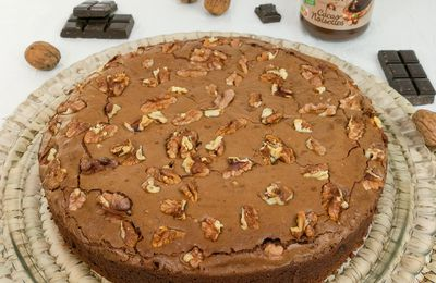 Brownie fondant à la pâte à tartiner et aux noix