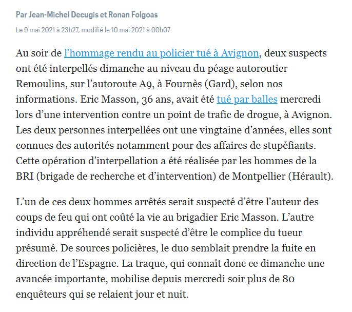 Policier tué à Avignon. Deux suspects interpellés
