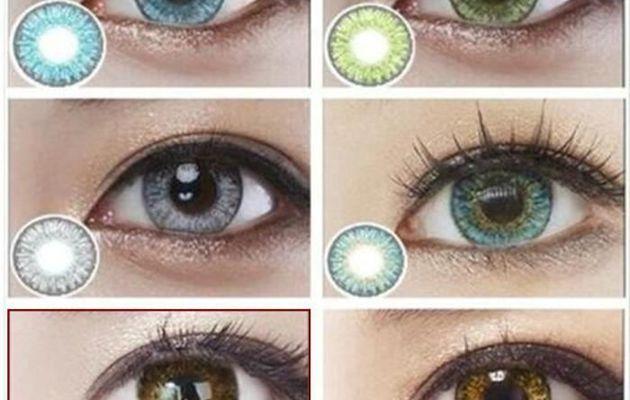 Lentille couleur sur yeux marron