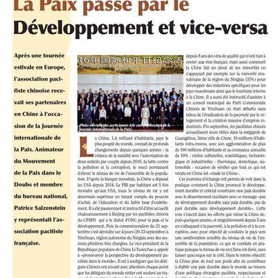 Chine: La Paix passe par le Développement et vice-versa