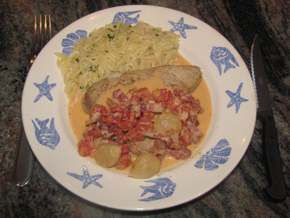 Steak de thon aux lardons