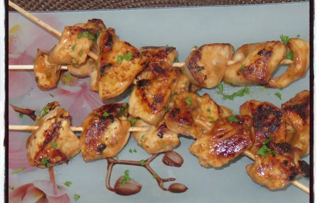 Brochettes poulet sauce barbecue