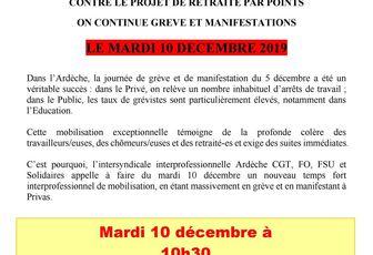 Grève du 10 Décembre 2019 lieu de rassemblement