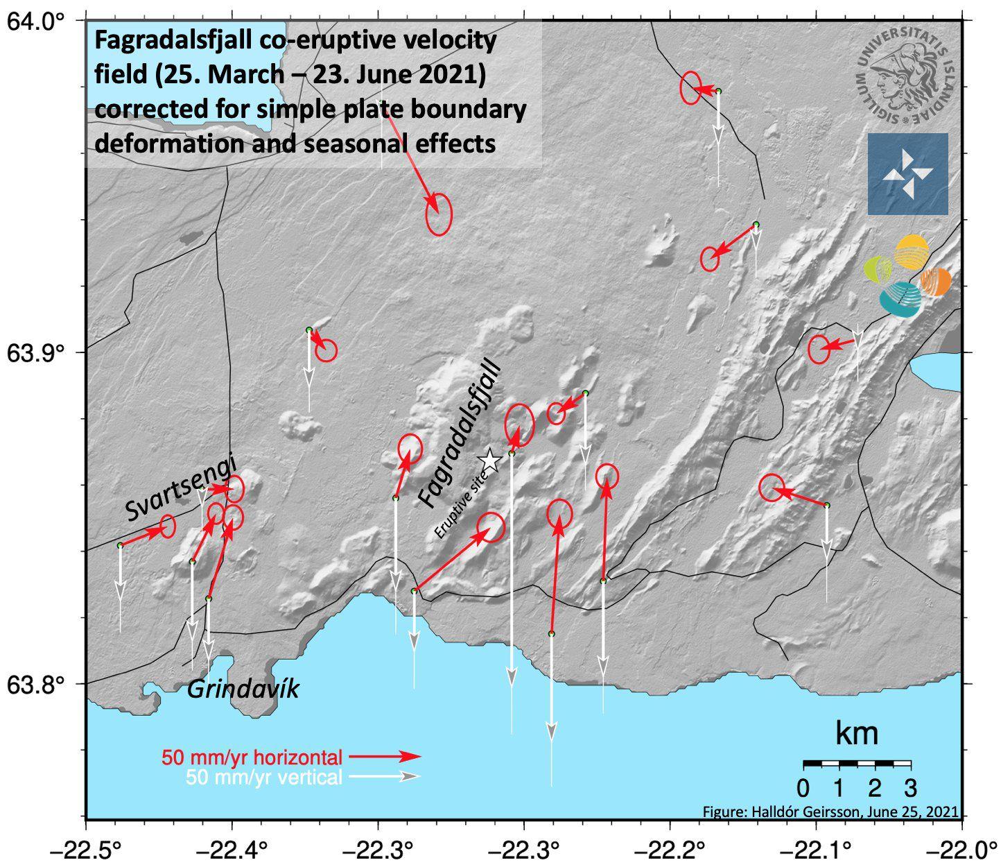 Fagradalsfjall éruption -  carte de la déformation du sol due à l'effusion de lave - Doc. Un. Iceland / Twitter
