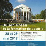 Colloque: « Julien GREEN et la formation de l'esprit » - Université de Toulon - mardi 28 et mercredi 29 mai 2019